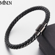 MINCN Hot Sale Genuine Braided Leather Bracelet Men Women Magnetic Clasp Stainless Steel Male Bracelets Punk Jewelry Bracelets bracelets for men women fashion stainless steel jewelry magnetic buckle handmade genuine braided bracelet