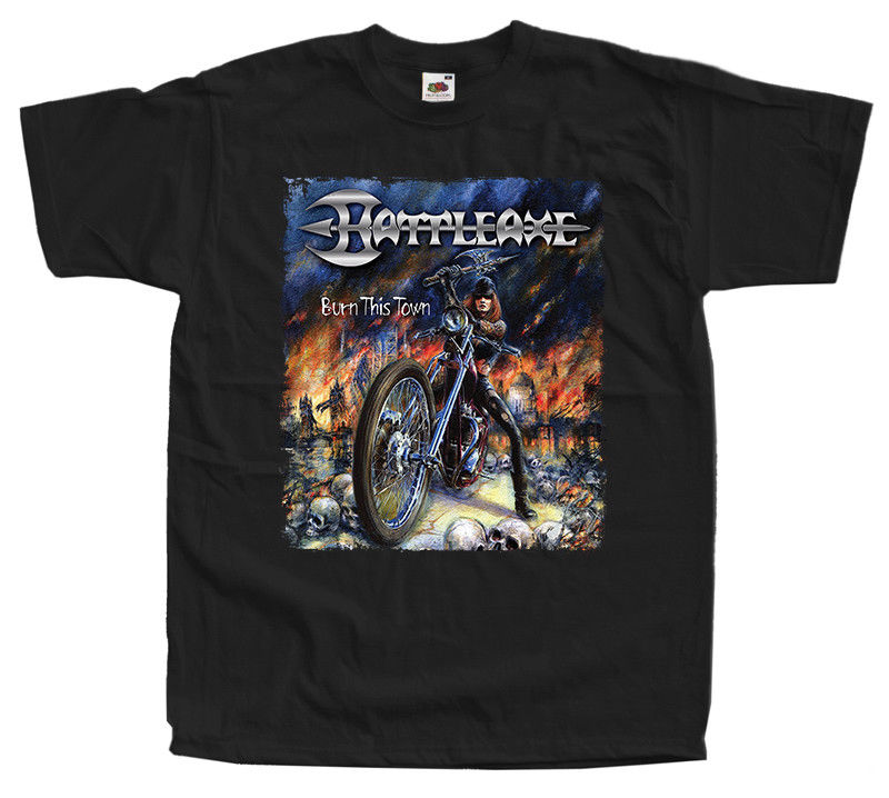 Battleaxe Burn This Town Remastered T Shirt Black Sizes S 5Xl 100% Cotton