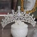 Подарок Свадебные Крона тиары винтаж серебряный кристалл диадемы пляж свадебные аксессуары для волос rhinestone короны партия свадебные украшения 248