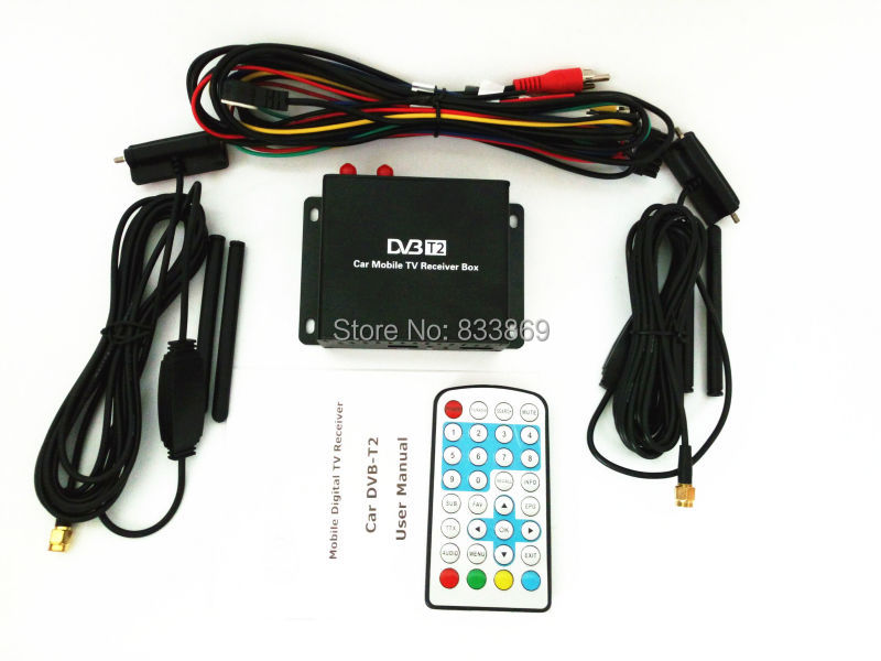 1080P Mobile DVB-T2 Car Digital TV Receiver Real 2 Antenna Speed Up To 160-180km/h DVB T2 Car TV Tuner MPEG4 SD/HD rtl2832u r820t usb isdb t digital television receiver black white