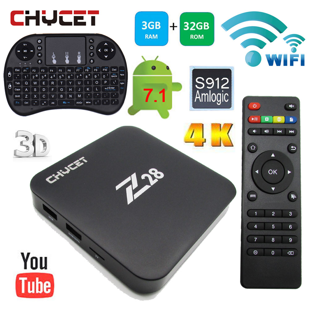 Z28 Smart TV Box RAM 3G ROM 32G Amlogic S912 Quad Core Cortex 2.4/5.8G WiFi  Android 7.1 4K Media Player 1000M Set top box eu us plug cs918s andriod 4 4 smart tv box quad core 2gb ram 16gb rom built in bluetooth 3g wifi android tv box newest in 2017