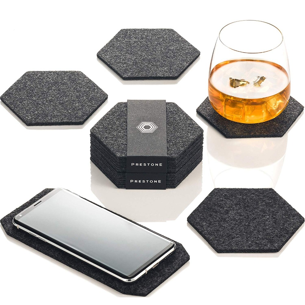 Hexagonal Faux Leather Grey /& Pink Coasters Drinks Coffee Table Mug Home Decor