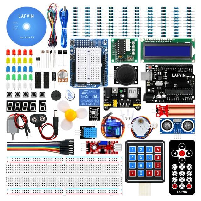 LAFVIN Super Starter Kit for Arduino UNO R3   Uno R3 Breadboard / Step Motor / 1602 LCD / jumper Wire / with CD Tutorial