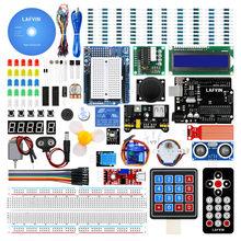 Стартовый набор LAFVIN Super Starter Kit для Arduino UNO R3, макетная плата, шаговый двигатель, сервопривод SG90, ЖК-дисплей 1602 дюйма, джампер, провод, компакт-ди...