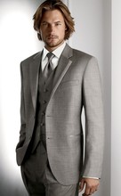 Classic Groom Tuxedo Light Grey Groomsmen Notch Lapel Wedding/Dinner Suits Best Man Bridegroom (Jacket+Pants+Tie+Vest)B420