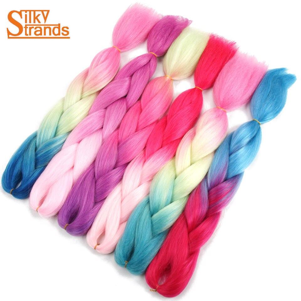 Silky Strands 24inch 100g Synthetic Two Tone Ombre Grey Purple Burgundy Pink Braiding Hair Kanekalon For Jumbo Crochet Braids