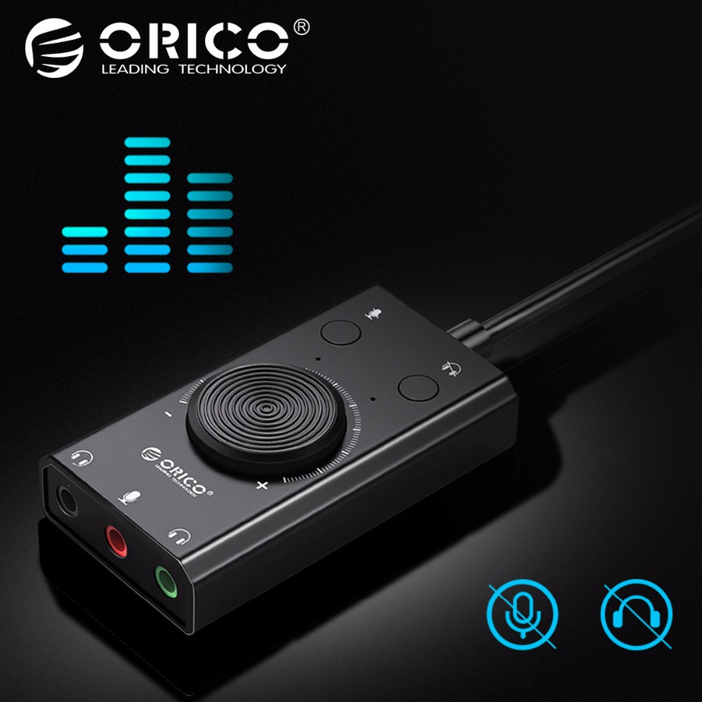 ORICO USB Sound Card External Audio Card Mic Adapter 3.5mm Jack Stereo Audio Cable Headset Volume Adjustment Free Drive for PC 1pcs pk 3 external usb sound card 2 1 channel audio adapter with headset mic for pc desktop notebook output power 800mw purple