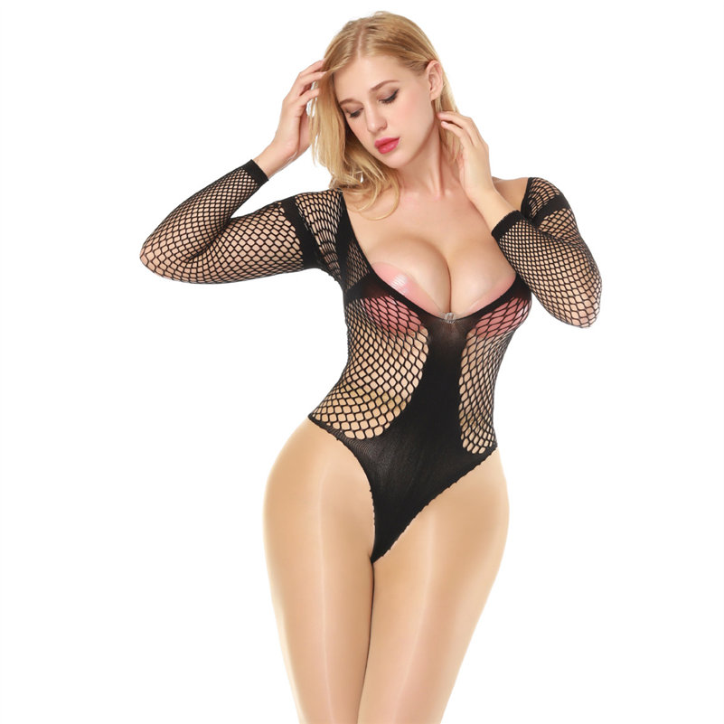 Candiway Sexy teddy Bodysuit underwear leotard jumpsuits Hollow Out Backless Buttocks fishnet style sleepwear clothes
