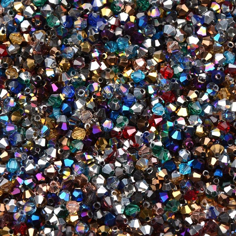 Мм 100 шт. 4 мм Смешанные Цвет Bicone Австрия Кристалл бусины Шарм Стекло свободный разделитель Бисер бисера для DIY ювелирных изделий