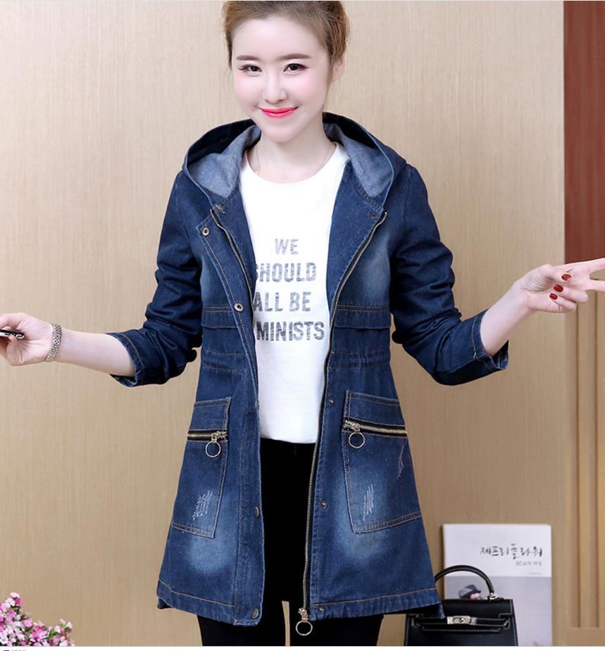 2018 women   basic     jacket   fashion denim   jacket   female spring and autumn long hooded XL Slim versatile outer   jacket   201870