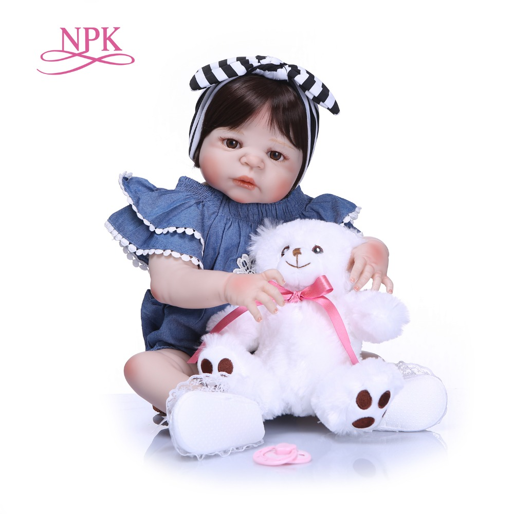 NPK 57cm Full Silicone Body Reborn Baby Doll Realistic Handmade Vinyl Adorable Lifelike Toddler Bebe Truly Kids Playmates Toys-in Dolls from Toys & Hobbies