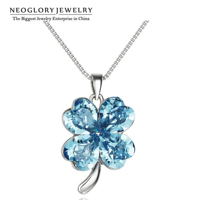 Neoglory FAIT AVEC SWAROVSKI ELEMENTS Cristal Trèfle Fleur Coloré Pendentif  Colliers Pour Femmes 2018 Nouveau EX1