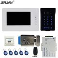 JERUAN Wired 7`` video doorphone intercom system Kit New RFID waterproof Touch Key password keypad Camera Electric control lock