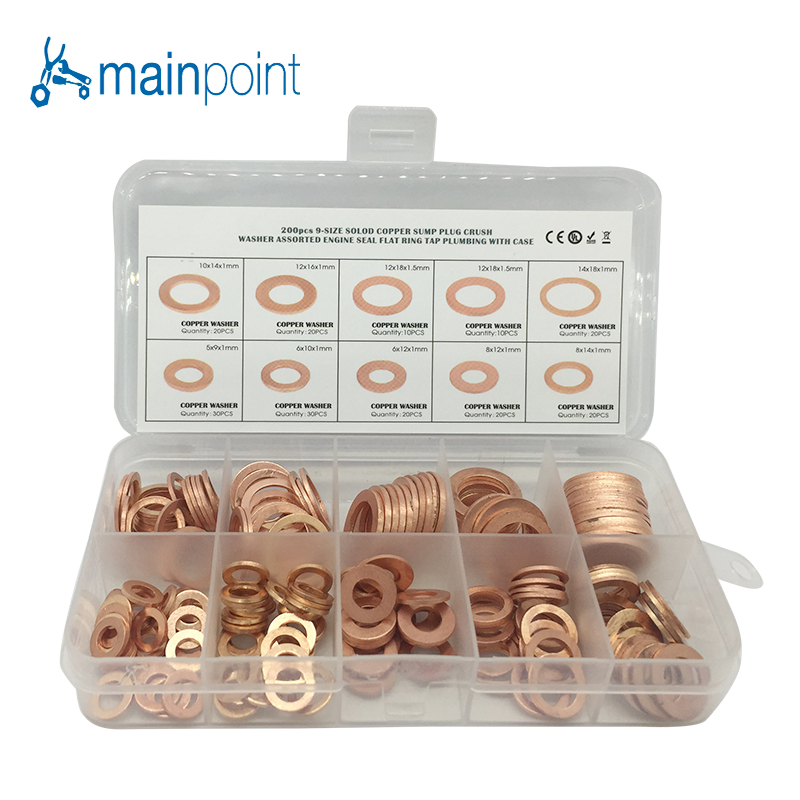 Mainpoint 200pcs Copper Washer Sump Plug Oil Gasket Set Flat Ring Seal Assortment Kit M5-M14 Hardware Accessories Kit With Box oil seal