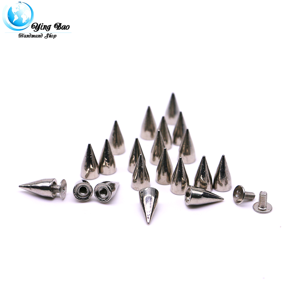 50sets/pack 7mm (Diameter), 14mm (Height)  cone rivets 3 Colors decorative clothing studs B-35