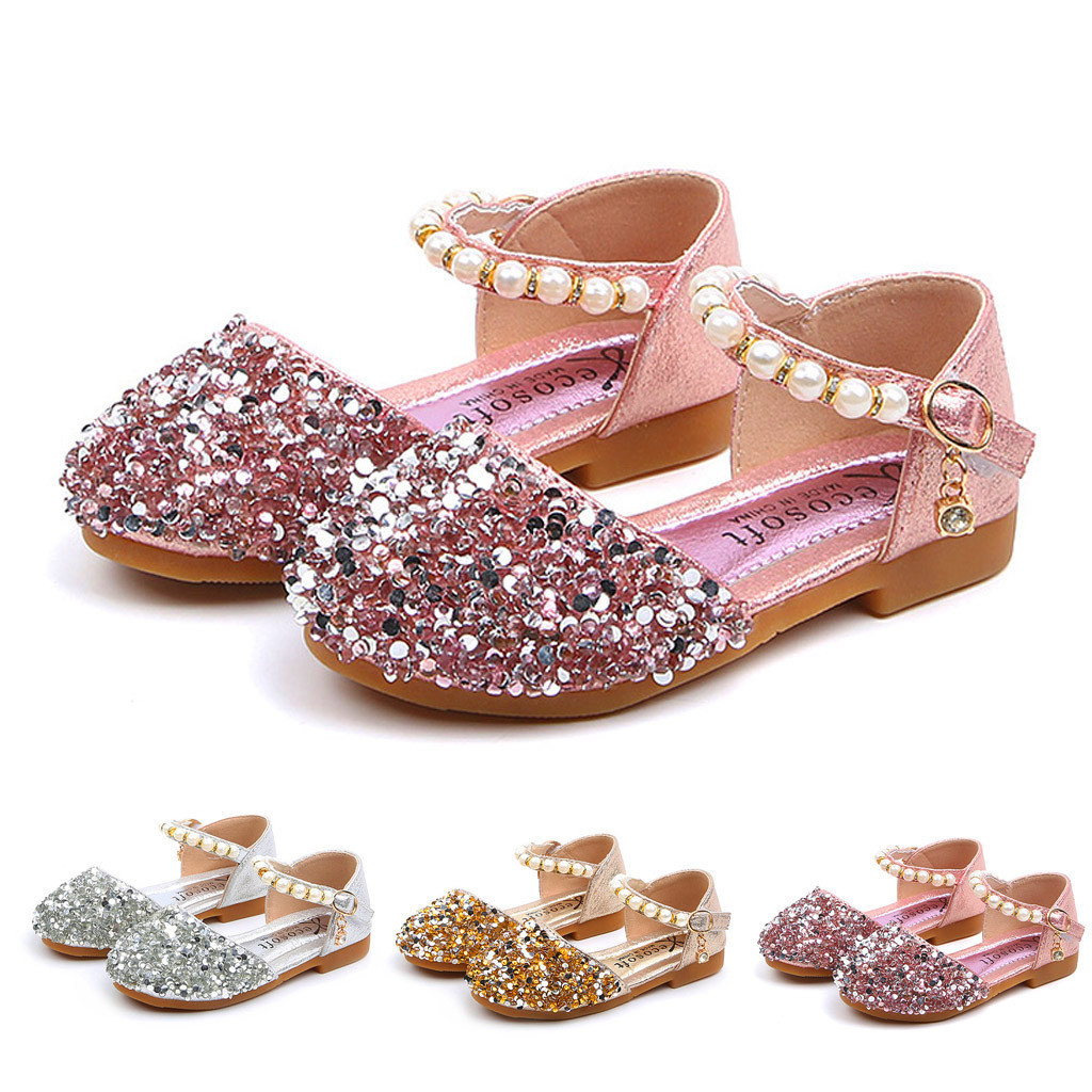 SOMESUN Baby Girls Princess Shoes Elegant Flock Solid Bowknot Soft Casual Dance Performance Single Shoes