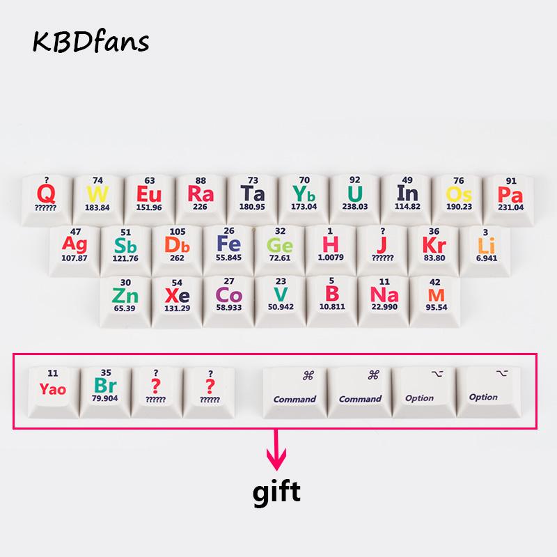Prix pour Cherry profil pbt keycaps 26 touches élément chimique tableau périodique pour mécanique clavier la sublimation