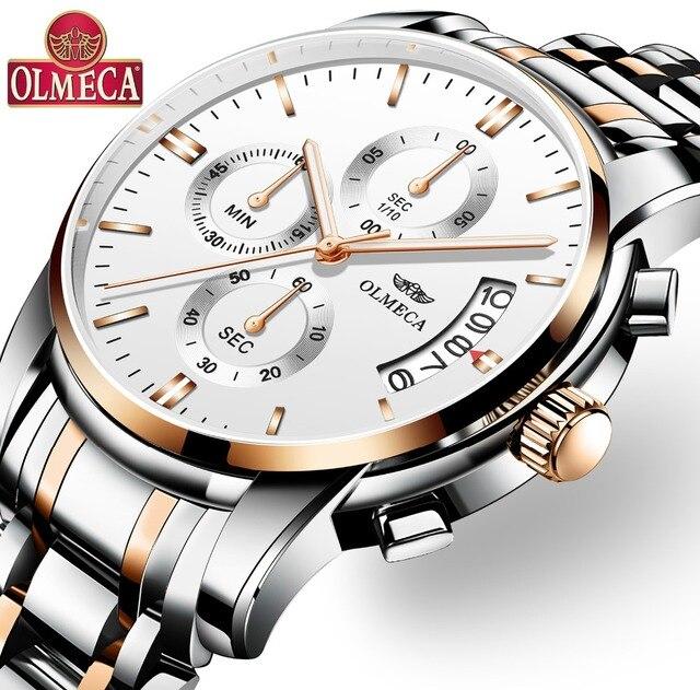 08896d165b8 OLMECA Relógio Militar Relogio masculino Relógios Mãos Luminosas Cronógrafo  Relógio de Pulso Relógios para homens À