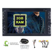 """Android 6.0 Car Stereo Head Unit Double Din Radio Car DVD Player In dash GPS Navigation 6.2"""" Bluetooth WiFi SWC Dual Camera"""