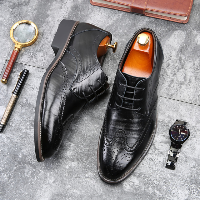 Merkmak Luxury Designer Formal Men Dress Shoes Genuine Leather Classic Brogue Shoes Flats Oxfords For Wedding Office Business