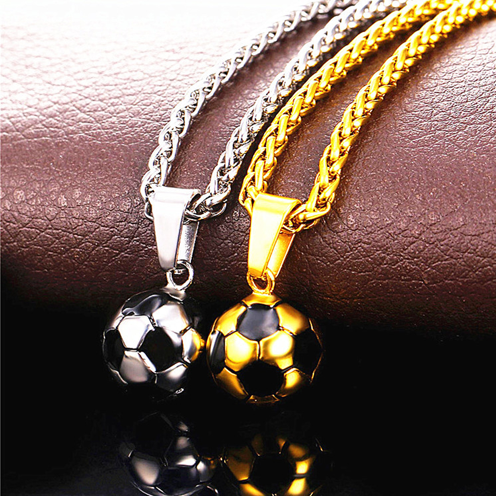 Football Soccer Pendant Necklaces Ball Enamel Jewelry Sporty Fashion Gold Stainless Steel Chain Soccers Fans Gift Dropshipping