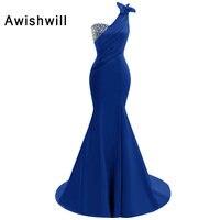 진짜 그림 로얄 블루/레드 긴 파티 드레스 한 어깨 Beadings 새틴 민소매 인어 이브닝 드레스 선발