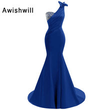 Real Picture Royal Blue / Red Long Party Wear Dress One Shoulder Beadings Satin Sleeveless Mermaid Evening Dresses Pageant Gowns fashion rhinestone infant children s wedding party wear layers red white royal blue cupcake pageant dress