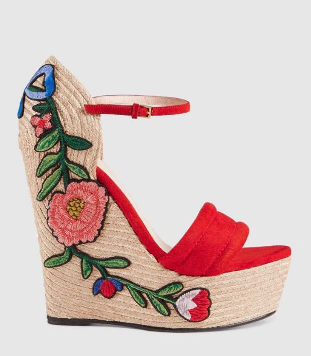 Newest Red Suede Open Toe Wedge Sandal for Woman Sexy Rope Braided Platform Ankle Strap Summer Shoes Flower Embroidery Sandal 2017 summer newest colorful flower decorations wedge sandal sexy pvc patchwork open toe platform slippers