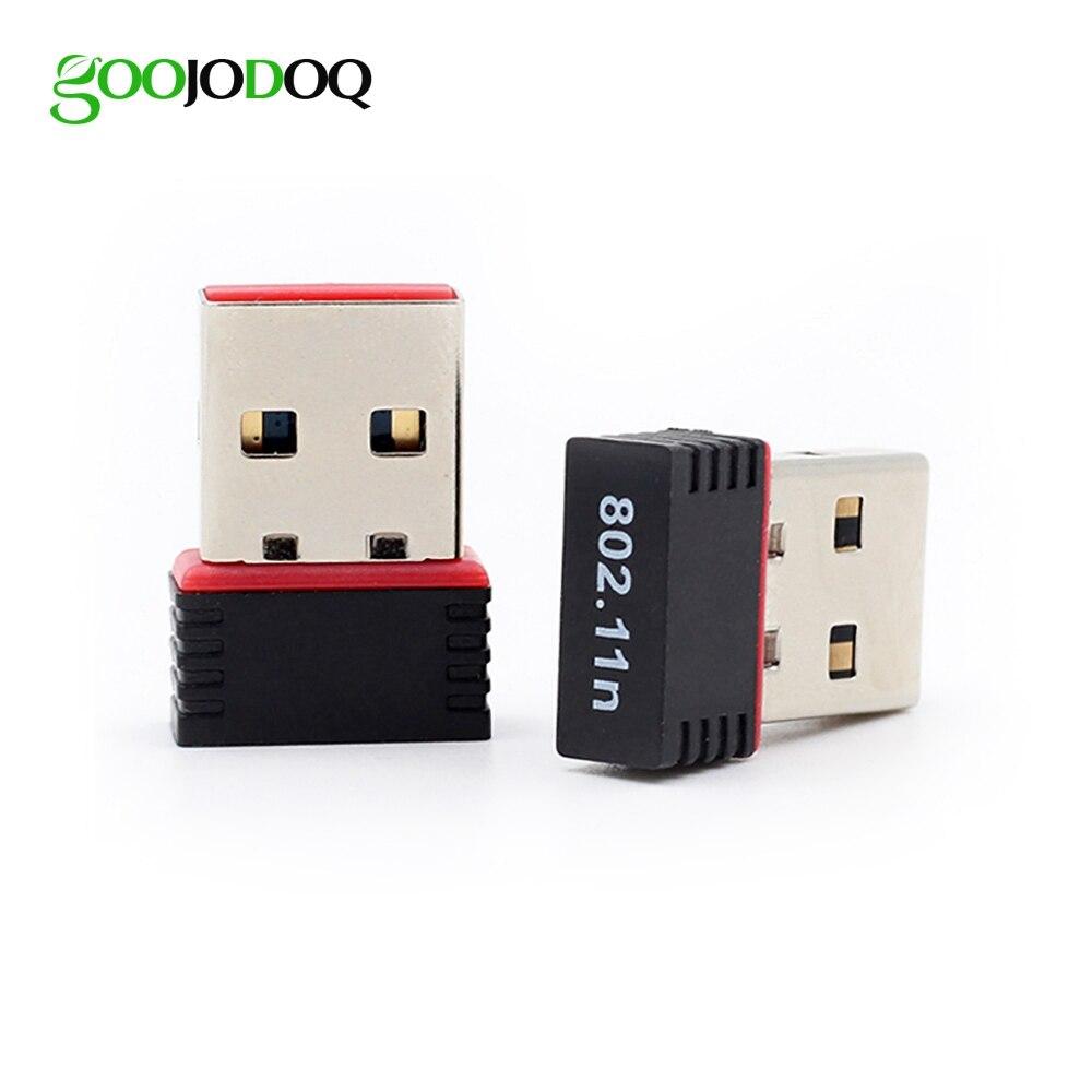 GOOOJODOQ Mini Portabel USB 2.0 WiFi Adapter 802.11n g b Kartu Jaringan LAN Nirkabel untuk PC Laptop Mac OS Linux WiFi antena