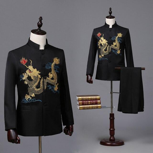 Мужская черный китайский дракон вышивка смокинг/этап производительности куртка