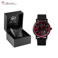 Luxury Box Bahamas Saw SHARK Sport Watch Men Quartz Simple Analog 3D Face Clock Crazy Horse Leather Designer Watches /SH567-571