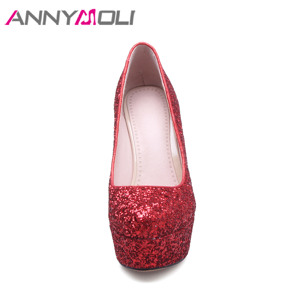 Stiletto 43 33 rouge Plate Annymoli Pompes forme Blanc Bling Mariée Sexy Rose Chaussures blanc Glitter Extrême Talons De Mariage Haute Taille qFHxwSPaTH