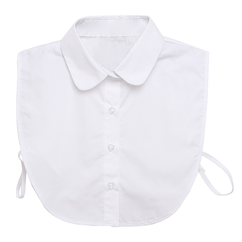 Women Button-down Solid Lightweight Shirt Lapel With Tapes Choker Detachable Collar Round Cotton Blend All-Match Top Blouse