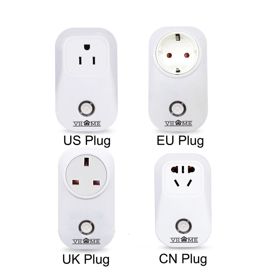 2018 VHOME Timer plug EU/UK wifi power socket plug outlet,smart Home Automation APP Control switch for iphone Android power plug xenon wireless wifi socket app remote control smart wifi power plug timer switch wall plug home appliance automation eu style