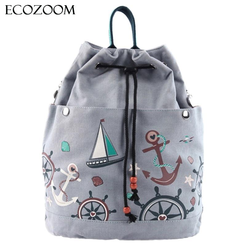 Multifunction Women Canvas Drawstring Backpack Bucket Beach Bag Girls Casual Sack Bag Travel Cinch Bag Sackpack
