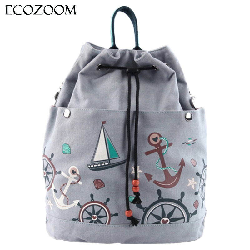 Women Canvas Drawstring Backpack Bucket Beach Bag Girls Casual Sack Bag Travel Cinch Bag Sackpack Cartoon Beam Pocket Mochila kai yunon women sparrow drawstring beam port backpack shopping bag travel bag aug 24
