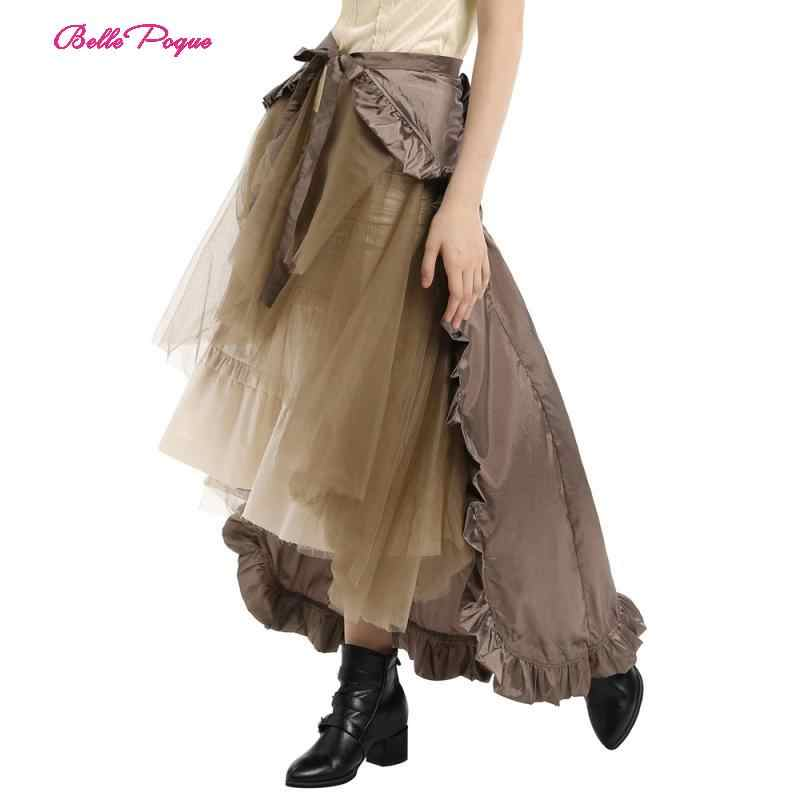 Belle Poque Vintage Women Skirt Steampunk Retro Victorian 1950s 1960s Lolita Punk Ruffle Long High-Low Lace-up Open party Skirt