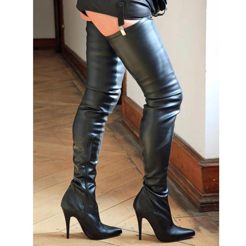 Bout Bottes Taille Chaussures Sur En Genou Hiver Chevalier Femmes Stilettos Haute Solid Sexy Cuisse Le Pointu Talons Dames Cuir xHpqXpYO