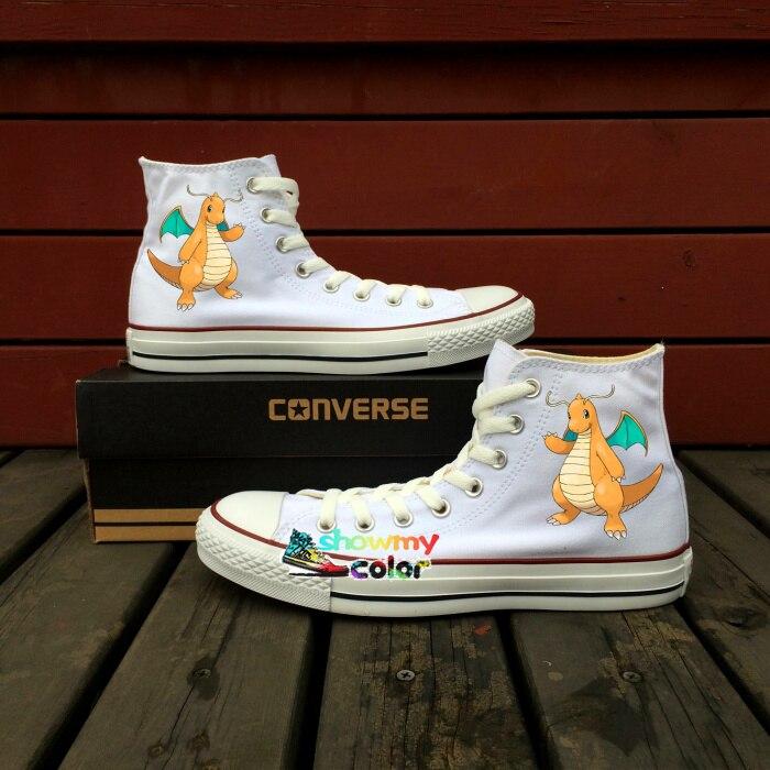 Prix pour Pokemon aller converse all star blanc toile chaussures personnalisé dragonite dragon design peint à la main sneakers hommes femmes cadeaux