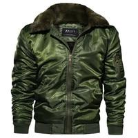 MORUANCLE Men Winter Flight Bomber Jackets Coats With Fur Hood Thick Thermal Varsity Jacket Fleece Lined Outerwear Windbreaker