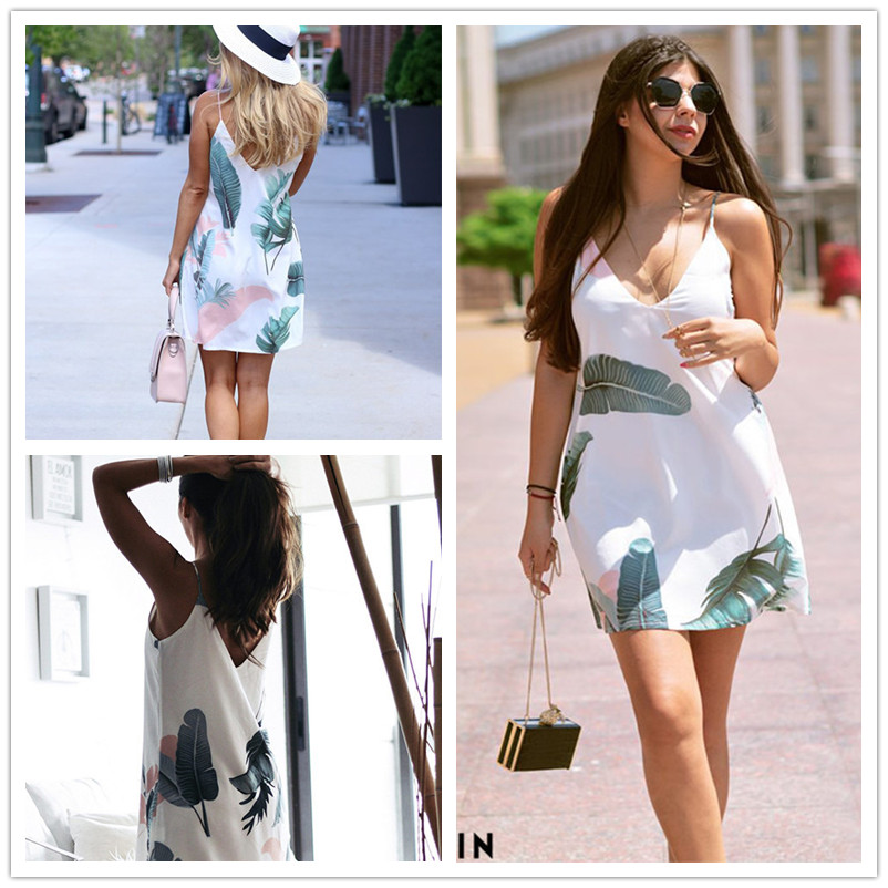 Sheinside White Beach Cami Summer Dress Women Palm Leaf Print Double V Neck Casual Shift Dresses Sexy Sleeveless Vacation Dress