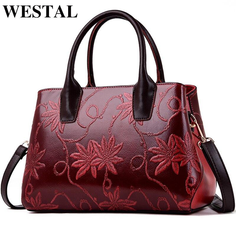WESTAL Floral Design Women Handbags Large Capacity Crossbody Bags for Women PU Shoulder Messenger Bags Vintage