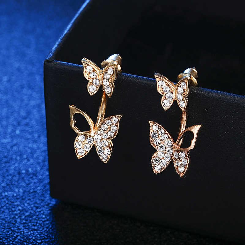 ... E0169 Beautiful Butterfly Stud Earrings Shiny Full Rhinestones  Butterflies Earrings For Women Girls Statement Ear Jewelry ... d026b73a37ea