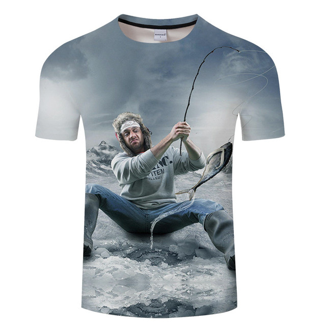 2019 new harajuku hd digital leisure 3D printing fish t shirt man fishing tshirt o collar jacket fun fish t shirt Asian size
