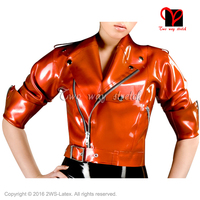 Metallic bronze Sexy Rubber coat Half Sleeves zipper Front uniform clothing Top clothes Latex Biker Peplum tunic Jacket SY 047