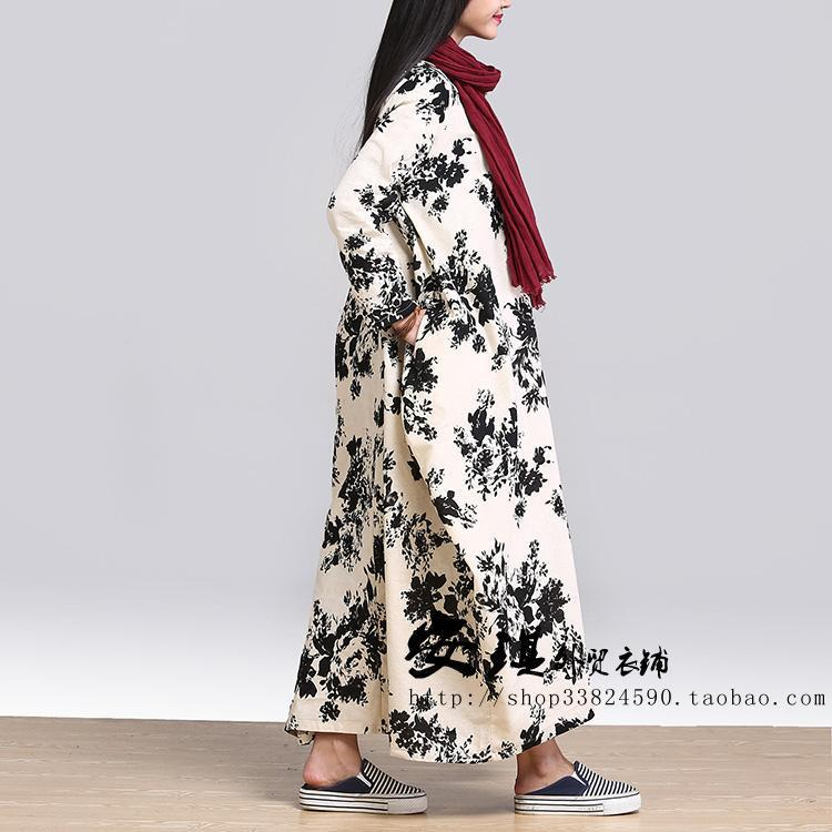 2016 Automne Nouvelle Plus La O 1 Cou Lin Maxi Coton Couture De Hiver Linge Encre Féminine Impression Lâche 2 Taille Robe rrwdf4qn