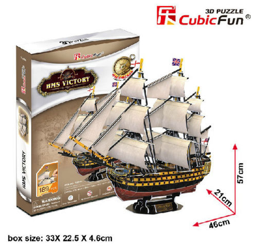 Candice guo CubicFun toy gift Paper 3D DIY Puzzle Model assemble England HMS Victory boat ship T4019h birthday gift christmas cubicfun 3d paper model diy puzzle toy gift the spanish armada fleet philip ship boat t4017h children birthday free shipping
