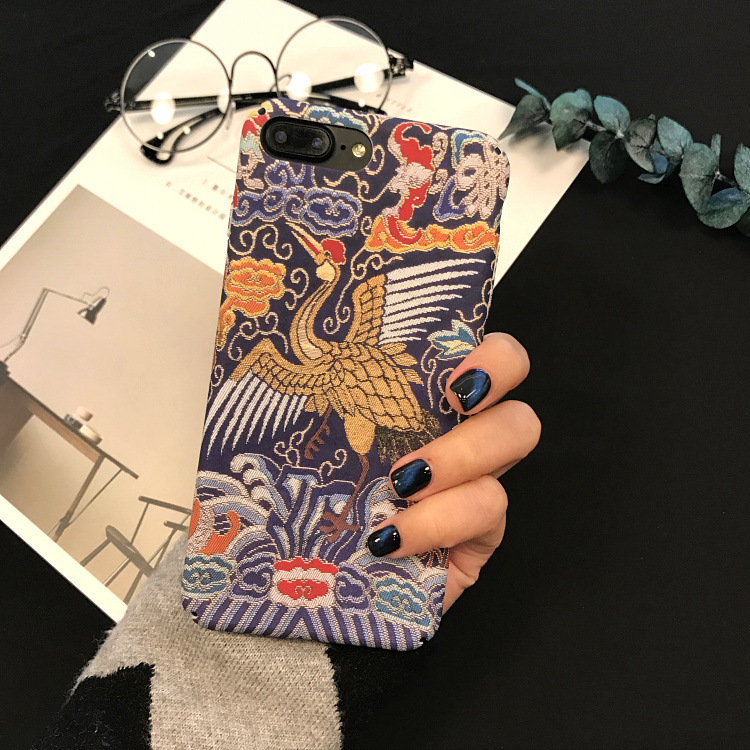 Fashion Chinese style bird phone case For iphone6 7 8 Puls National characteristics Matte back cover PC Hard For iphone 6 7 Case