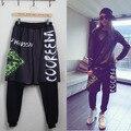 New Fashion Adult Women Trousers wear letter Eye print ds costume female Jazz False two loose harem Hip hop dance pants