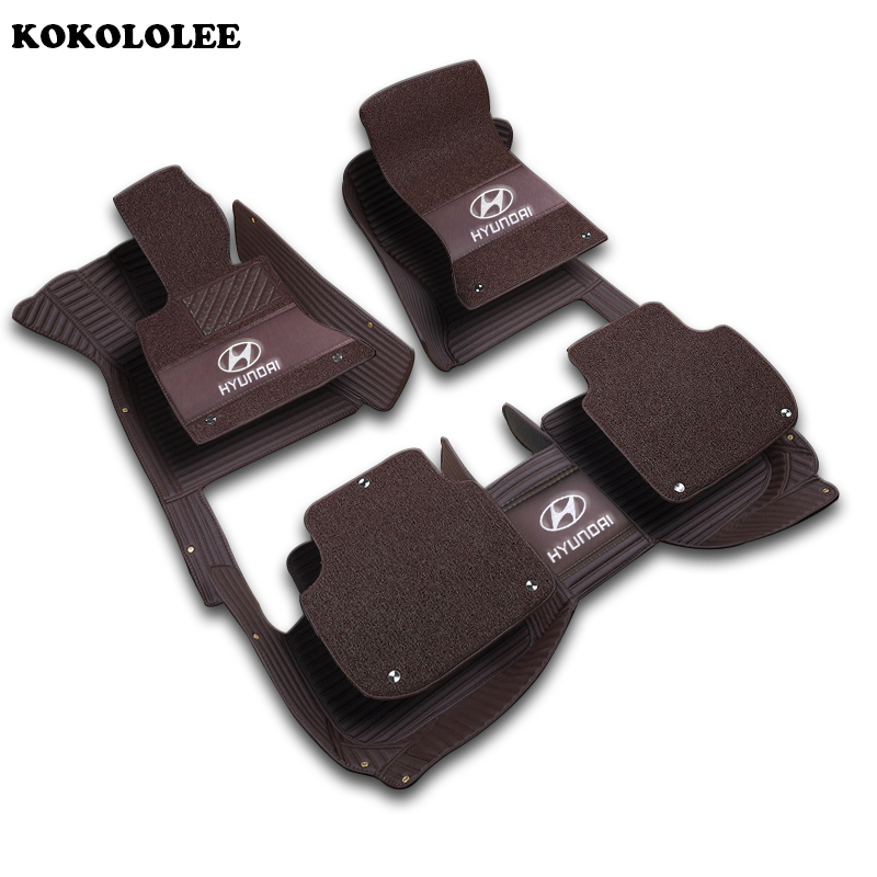 kokololee Customized car floor mat for HYUNDAI H 1 Wagon New SantaFe ROHENS COUPE Azera Grand SantaFe VERACRUZ matrix car mats